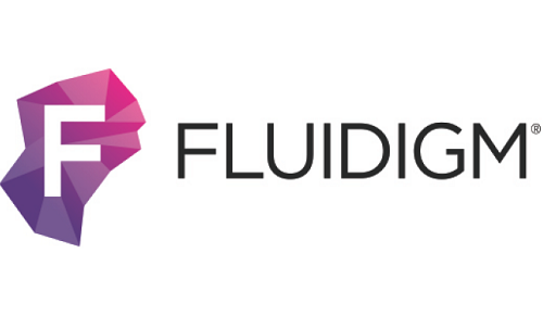 Fluidigm logo consisting of the letter F in white on a purple background