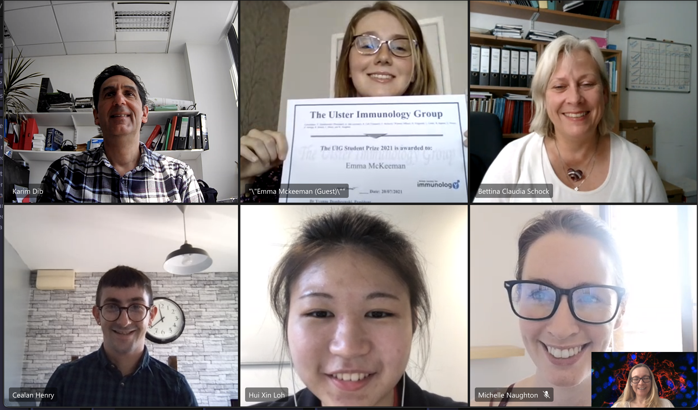 Screenshot of the virtual Ulster best immunology student award ceremony