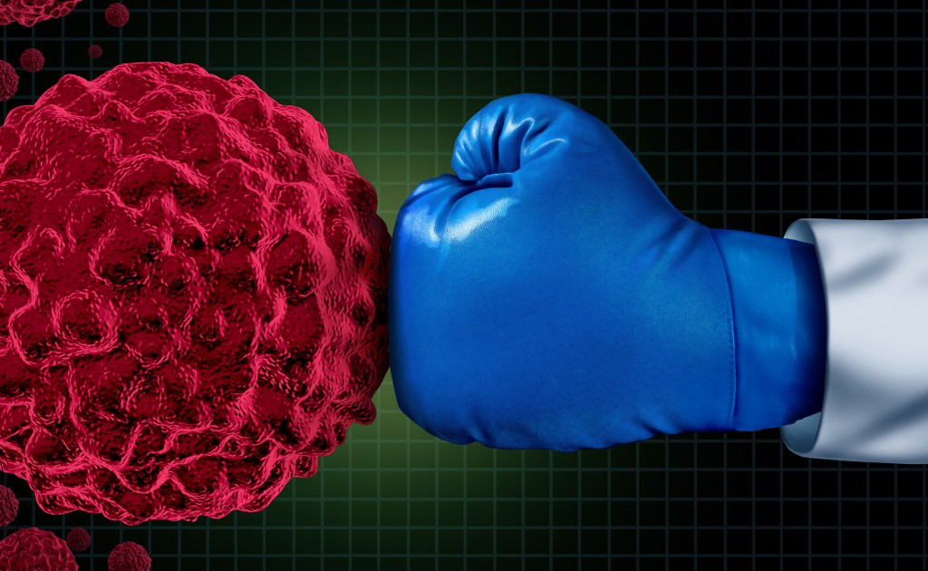 Boxing glove and cancer cell
