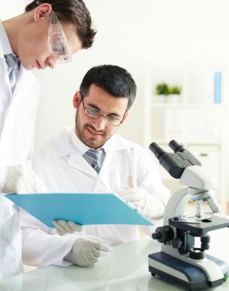 Researchers in lab looking at notes