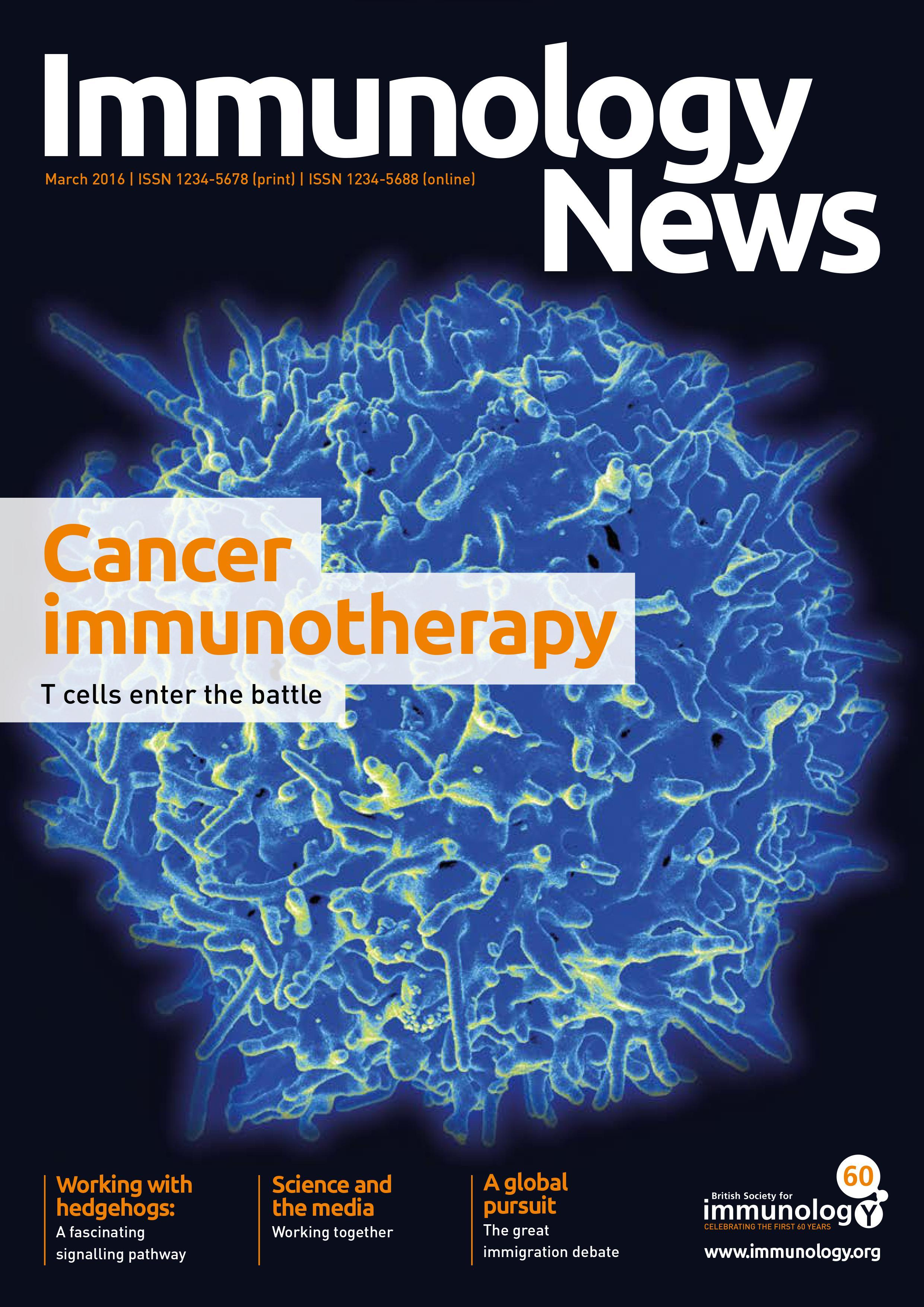 Immunology News March 2016 cover