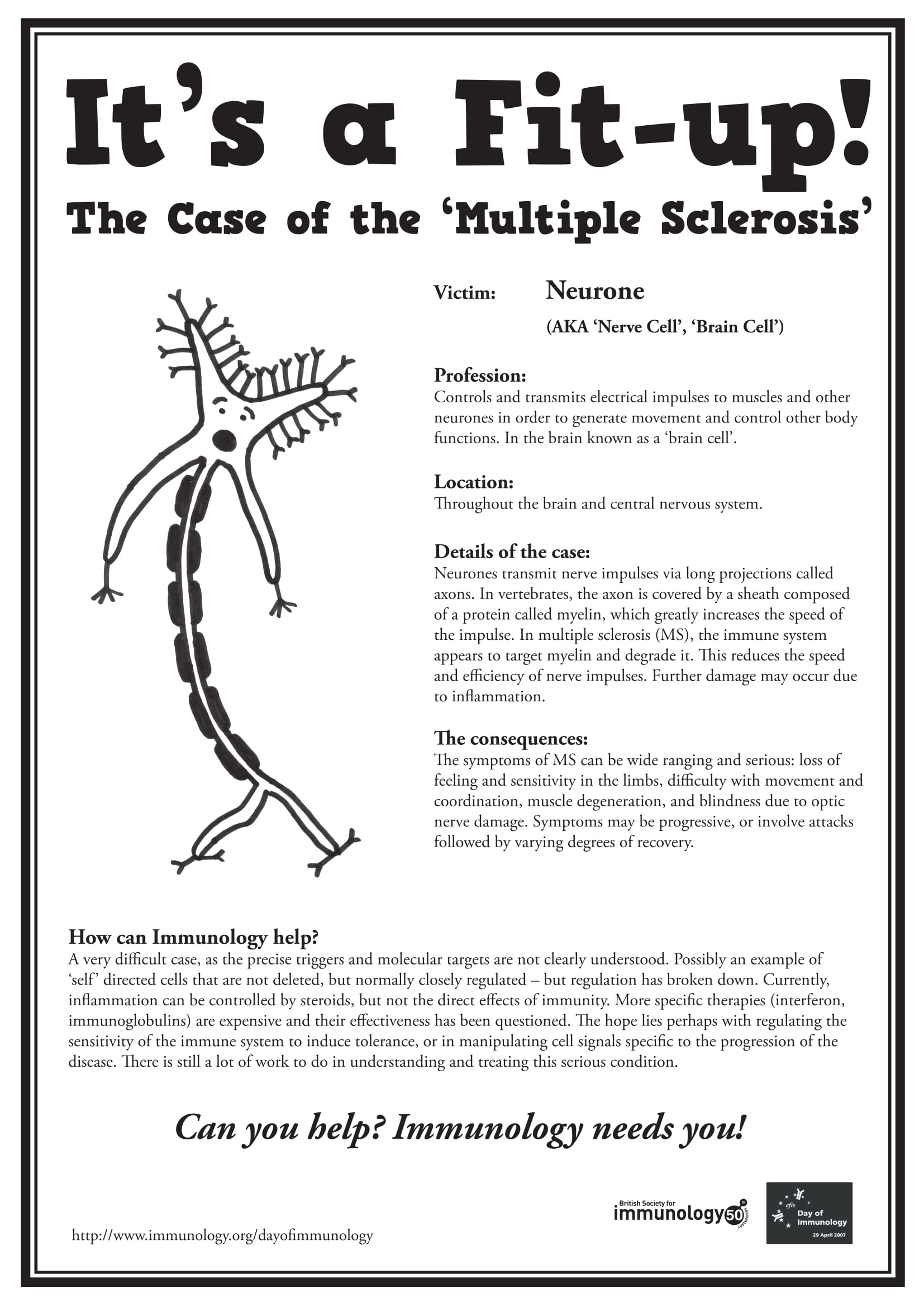 Multiple Sclerosis Wanted Poster